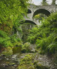 Summer Craigmin Bridge, Craigmin Bridge, Buckie, Scotland, Drybridge, railway, stone, arches, Amityville, eye, spooky, b