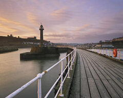 Sunrise Whitby Quay, Whitby, Yorkshire, England, abbey. town, planking, railings, curved, lines, sunrise, silhouetted