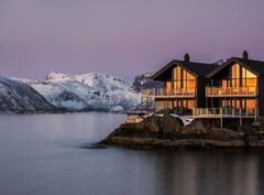 Sunset Glow Hamn, Hamn, Senja, Norway, oozes, colour, Arctic, sunset, afterglow, sedate, golden, glow, reflected, magenta, pink, sky, chalets, intensity
