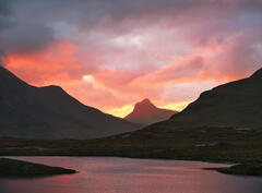 Sunset Stac Pollaidh, Knockan Crag, Assynt, Scotland, sunset, scarlet, Stac Pollaidh, intensity, colour, reflected, loch