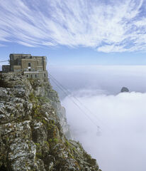 Table Top, Table Top Mountain, Capetown, South Africa, cloud, blanket, cirrus, sky, Lions Head, vanish, cable car, desce