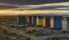 Tangerine coloured sunlight shining on gable ends of beach huts amongst dune grass at Findhorn, Moray, Scotland