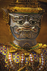 Thai Demon, Royal Palace Bangkok Thailand, statues, resplendent, gold, glass, panels, coloured, sanctum, treasure
