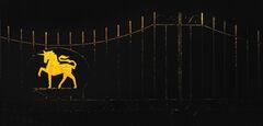The Last Unicorn, Beckenham, Kent, England, iron, gates, Wellcome, labs, company, takeover, Glaxo, gold, emblem, defianc