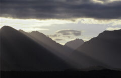 Three Steps To Heaven, Manapouri, South Island, NZ, brilliant, sunshine, erupts, cloud, heavy, mountains, ladders