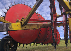 Threshing Machine, Wanaka, South Island, NZ, engineering, agricultural, machinery, toys, red, wheels, teeth