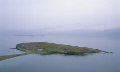 Tombolo, Loch Eribol, Sutherland, Scotland, isthmus, main land, walkway, concave, beaches, cottage, white, lime kiln, mi