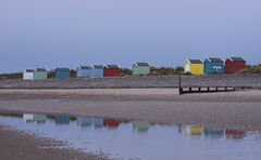 Twilight Beach Huts Reflection, Findhorn, Moray, Scotland, cold, winter, dusky, blue, segregated, huts, tide, reflection