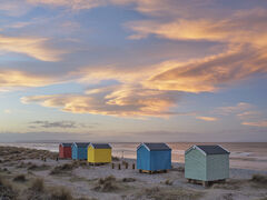 Unfolding Drama Findhorn, Findhorn, Moray, Scotland, Culbin, Inverness, dunes, beach huts, red, orange, wind blown, clouds, orange, colour