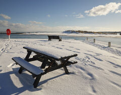 Vacant Picnic Lossiemouth, Lossiemouth, Moray, Scotland, benches, seats, sandy, beach, quayside, crisp, bright, winter, snow, dunes,
