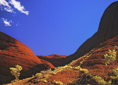Valley Of The Winds, Olgas, Red Centre, Australia, silence, wind, gusting, sand, scarlet, wisp, cloud, blue, green, gras