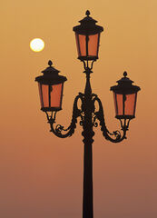 Venetian Sunrise, St Marks Square, Venice, Italy, attractive, pink, glass, street lamps, backlighting, rising, sun, powe