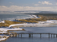 Winter Beach Overlook, Lossiemouth, Moray, Scotland, stunning, winter, high, viewpoint, town, foot bridge, condemned, access, snow, dunes, beach, hills