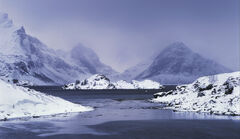 Winter Blues Selfjord, Selfjord, Lofoten, Norway, favourite, winter, evening, snow, storm, visibility, fjord, mountain,
