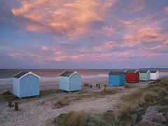 Winter Gloaming, Findhorn, Findhorn Bay, Moray, Scotland, Burghead, sun, rose, colour, beach huts, beach, twilight, blues, string, afterglow