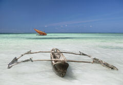 Zanzibar Dhow, Zanzibar, Tanzania, Africa, beautiful, deserted, coast, palm, paradise, clear, blue, outrigger, sea