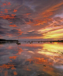 Findhorn, reflected, Moray, Scotland, sunset, sky, reflection