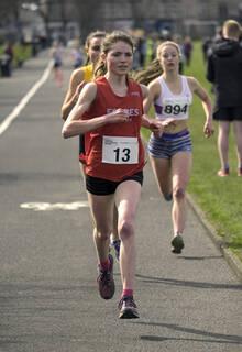 Leading The Field, Greenoch, Glasgow, Scotland, lap, Forres Harriers, lead, runners, Anna MacFadyen, Iona Millar, Lauren