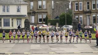 Race Start, Greenoch, Glasgow, Scotland, start, girls, road race, eighteen, runners, Anna MacFadyen, red, vest