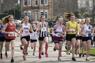 U17 Road Race 4, Greenoch, Glasgow, Scotland, start, converge, hierachy, Anna MacFadyen, red, vest, second, runners