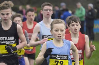 Under 13 Boys Start 1, Edinburgh, Lothian, Scotland, spikes, grip, Lewis Dow, Ben Cameron, interdistrict, 3km, 69, winne