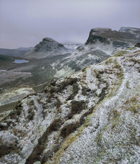 Winter Quiraing, Quiraing, Skye, Scotland, snow, warm, atlantic, coast, climate, mild, icing, dusting, delicately, peaks