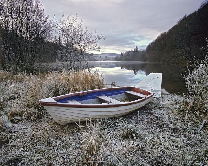 Loch Ard, abandoned, Aberfoyle, Scotland, boat, winter, frost, jetty photo