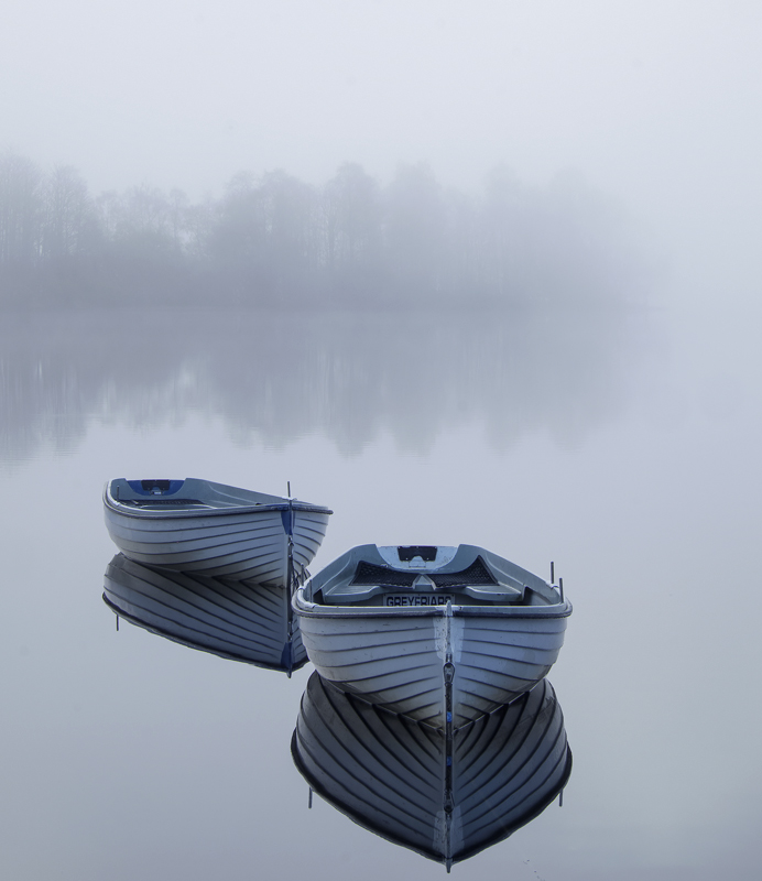 Adrift Rusky, Loch Rusky, Trossachs, Scotland, separated, boats, delicate, line, silhouetted, trees, reflected, orientat photo