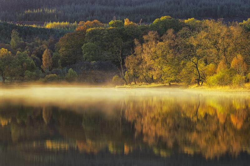 Angels Mist, Loch Achray, Trossachs, Scotland, magical, heat, cold, frosty, mist, condense, moisture, autumn, colours, r photo