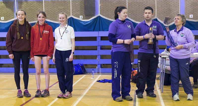 Anna MacFadyen being presented with her gold medal at the 2016 Secondary School age group championships at the Magnum Centre...