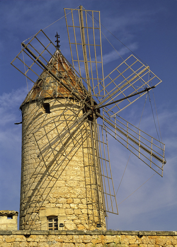 Antique Turbine, Casares, Andalucia, Spain, honey, sandstone warm, evening, light, skeletal, sails, picturesque, cloud,  photo