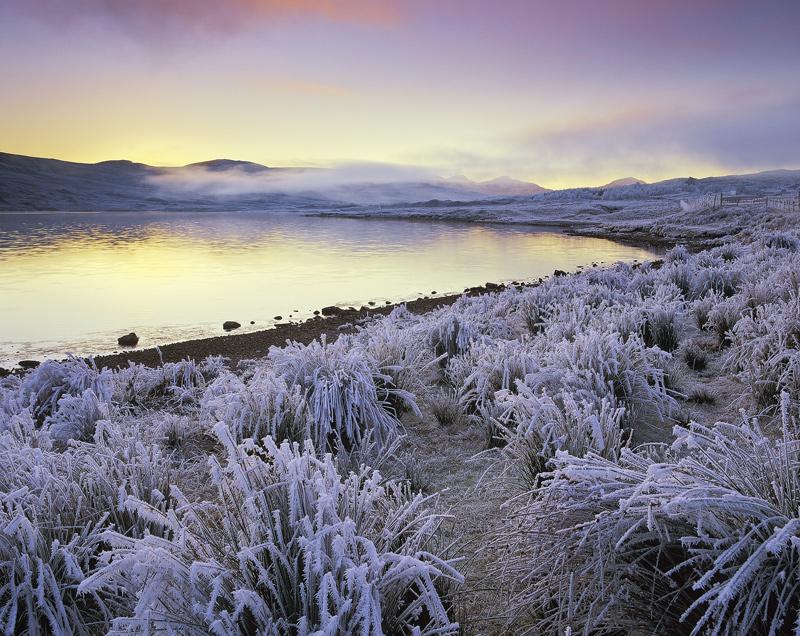 Arctic Blast, Loch A Chroisg, Achnasheen, Scotland, chilling, cold, sunset, west, loch, sky, crimson, ochre, violet, fro photo