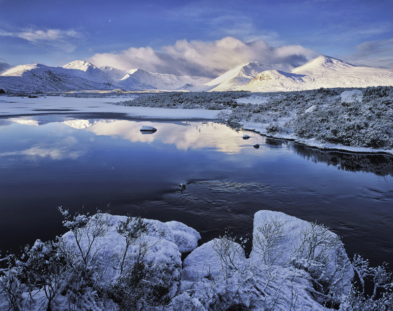 Arctic Chill, Rannoch Moor, Glencoe, Scotland, chilly, Blackmount, reflection, oily, black, snow, ice, frozen, morning  photo