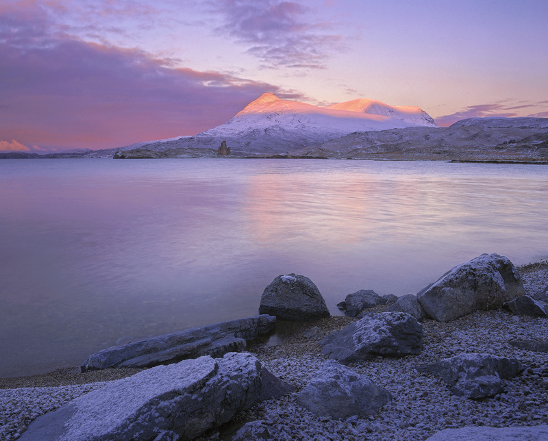 Ardvreck Rose, Ardvreck Castle, Assynt, Scotland, winter, sunrise, mountains, clouds, snow, peaks, rose, red, strawberry photo