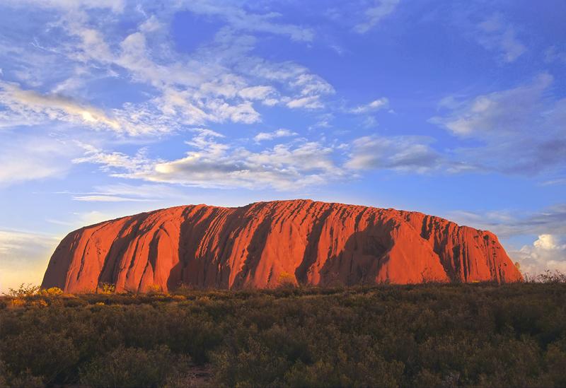 Ayers Rock, Ulhuru, Red Centre, Australia, scarlet, iconic, slab, rock, monolith, visitors, trek, summit, evening, sunse photo