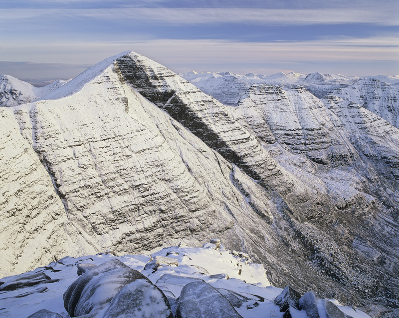Beinn Allgin White, Tom Na Gruigaich, Torridon, Scotland, summit, tent, glorious, dusting, snow, winter, weather, crysta photo