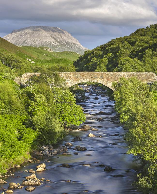 Beinn Arkle View, Rhiconich, Assynt, Scotland, Hotel, road, foot bridge, Beinn Arkle, silvery, rock scree, stone, mounta photo