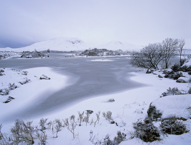 Bleak, Rannoch Moor, Glencoe, Scotland, icy, blue, cold, raw, wind, atmosphere, sombre, limited colour  photo