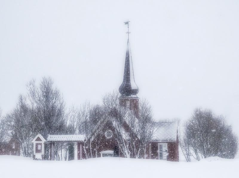 Blizzard Flakstad Church, Flakstad, Lofoten, Norway, Russian, beach, snow, beautiful, filter, serendipitous, charming, f photo