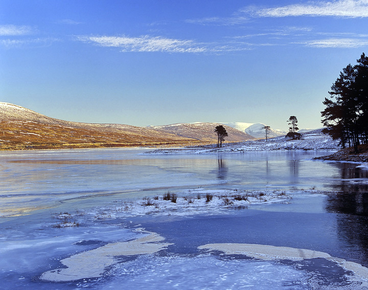 blue, ice, Droma, loch droma, Highlands, Scotland, sky, frozen, trees photo
