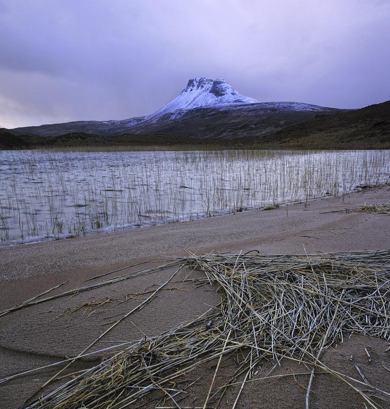 Blue Pollaidh, Loch Lurgainn, Inverpolly, Scotland, blue, co-luminous, light, hue, clouds, summit  photo