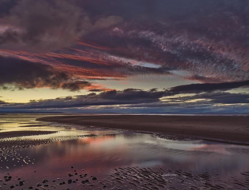 Blueberry Findhorn, Findhorn, Moray, Scotland, sunset, sky, plum, violet, purple, channel, lagoon, banana, wisps, crimso photo