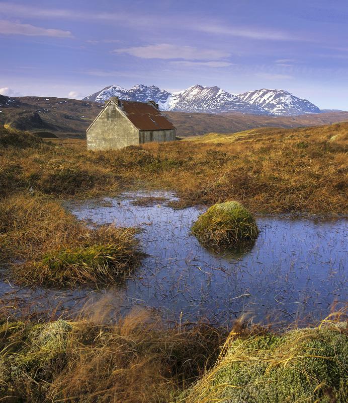 Bogged Bothy, Braemore Junction, Highlands, Scotland, tin, house, moorland, inhospitable, bog, pool, An Teallach, munros photo