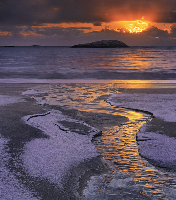 Bovaer Lava Flow, Bovaer, Senja, Norway, outflow, stream, drains, snow, sandy, shore, volcanic, island, clouds, orange photo