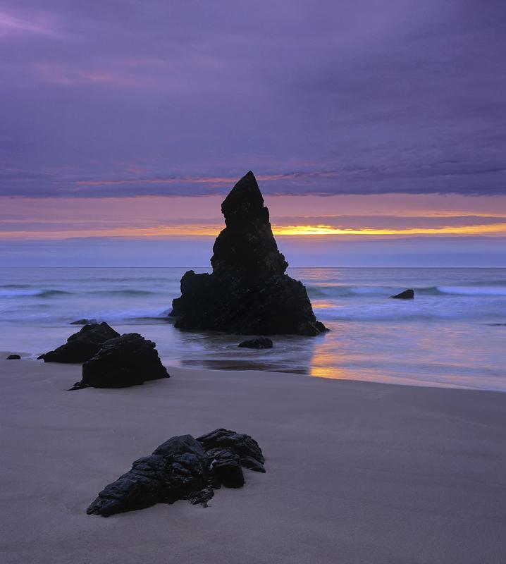 Breaking Dawn Durness, Sango Bay, Sutherland, Scotland, clean, sand, beach, outcrop, rock, wizarding, hat, Harry Potter, photo