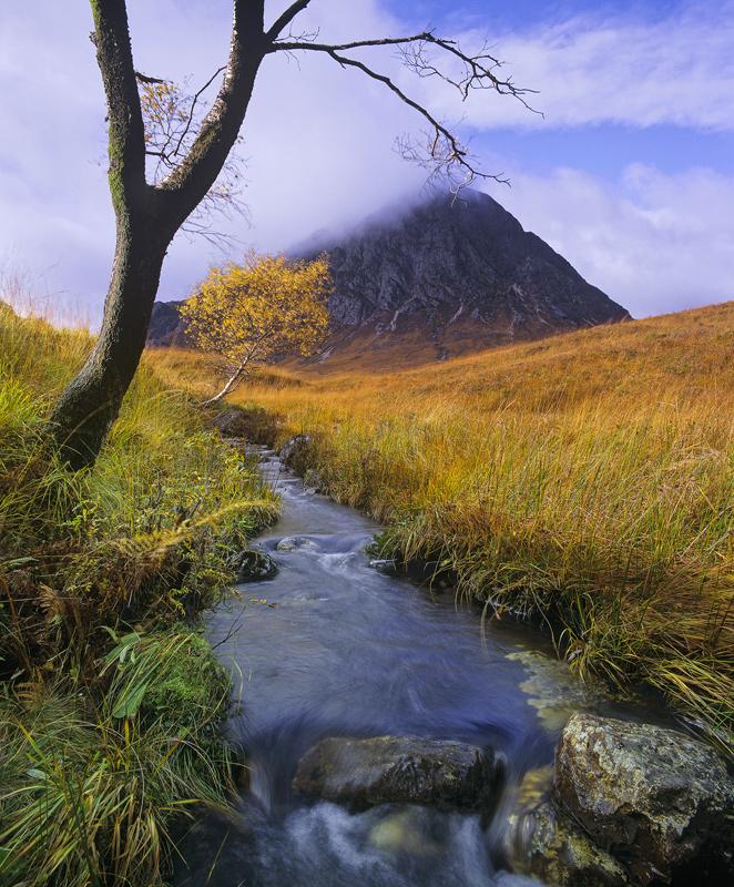 Brookside, Glen Etive, Rannoch Moor, Scotland, autumnal, morning, awkward, babbling, mountains, Buachaille, birch, golde photo