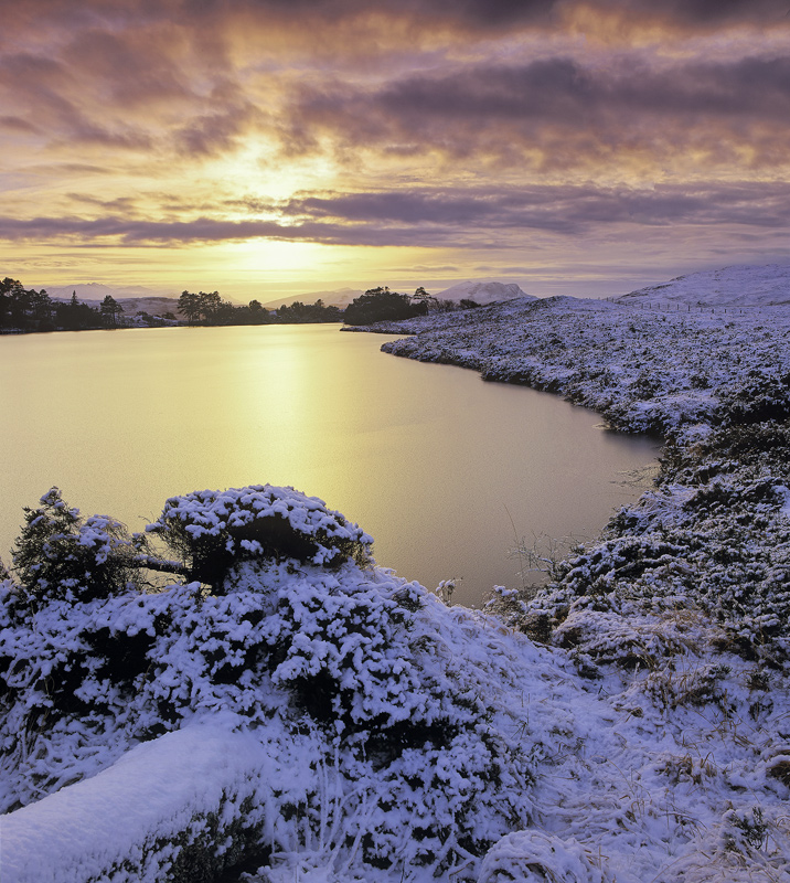 Butterscotch Culdromman, Loch Culdromman, Inverpolly, Scotland, lochan, peaks, frozen, slushy, warm, winter, snow, bleak photo
