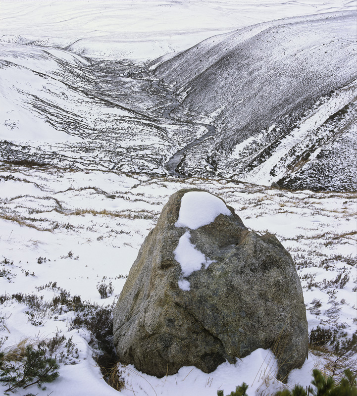 Cairngorm Erratic, Cairngorm, Highlands, Scotland, glen, river, snaking, hills, boulders, meandering, smoke, summit, sno photo