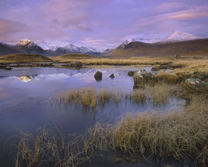 Caramel Stainge, Loch Na Stainge, Glencoe, Scotland, sweetest, light, glow, dawn, twilight, sky, reflected, blue, frozen photo