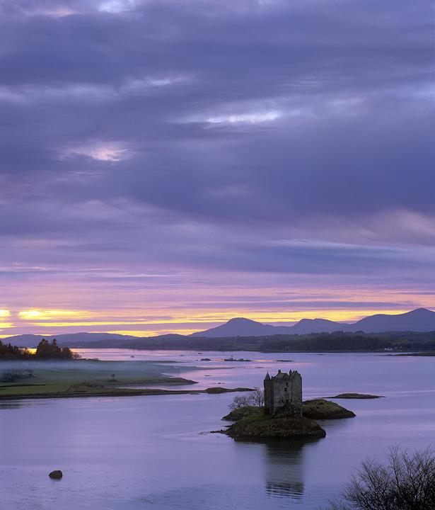 Castle Wraith, Castle Stalker, Argyl & Bute, Scotland, hillside, view, obstruct, trees, silhouette, sunset, spectacular photo